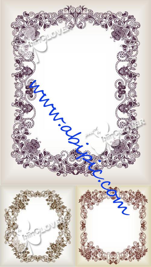 دانلود وکتور کادر و فریم های آبسترکت برای طراحی Abstract floral frame