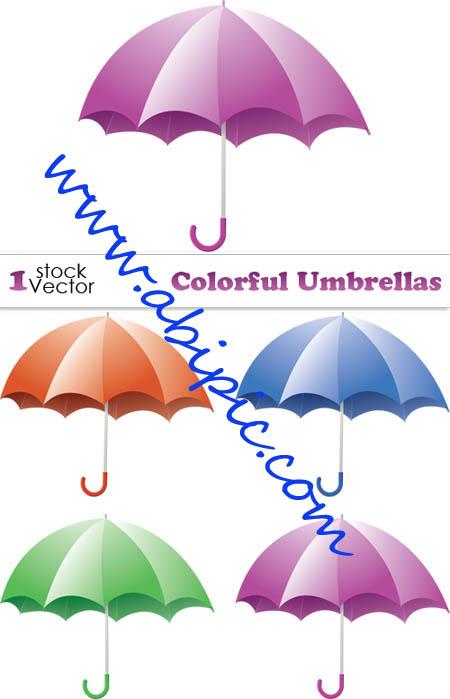 دانلود طرح وکتور چتر Colorful Umbrellas Vector