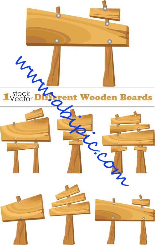 دانلود وکتور تابلوهای راهنما و مسیر یاب Different Wooden Boards Vector