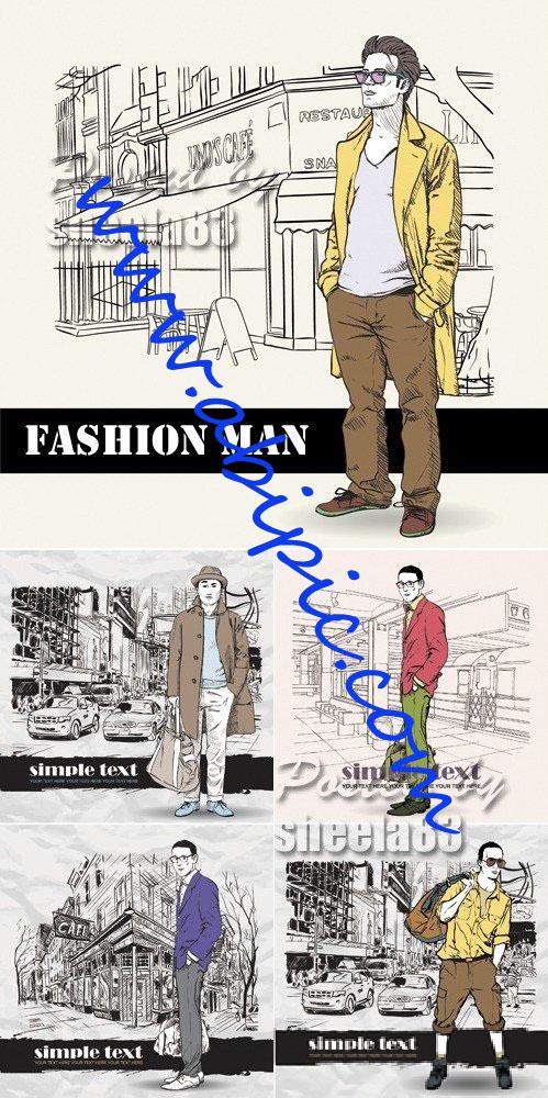 دانلود وکتور مردان فشن و شیک پوش Fashion Man Vector