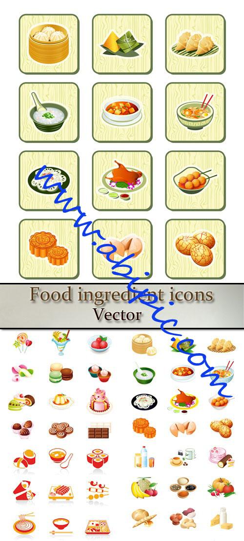 دانلود وکتور آیکون های انواع غذا Food ingredient icons