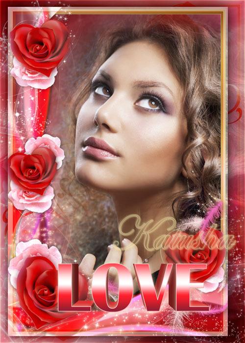 دانلود فریم و قاب عکس لایه باز عاشقانه با کلمه Frame for Romantic Photos - Love