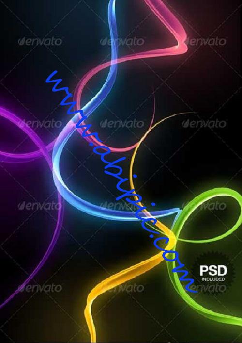 دانلود تصاویر لایه باز منحنی های 3 بعدی رنگارنگ فتوشاپ