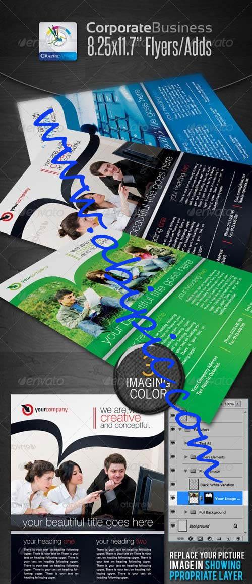 دانلود طرح لایه باز PSD پوستر تبلیغاتی آماده پرینت GraphicRiver Corporate Business Flyers