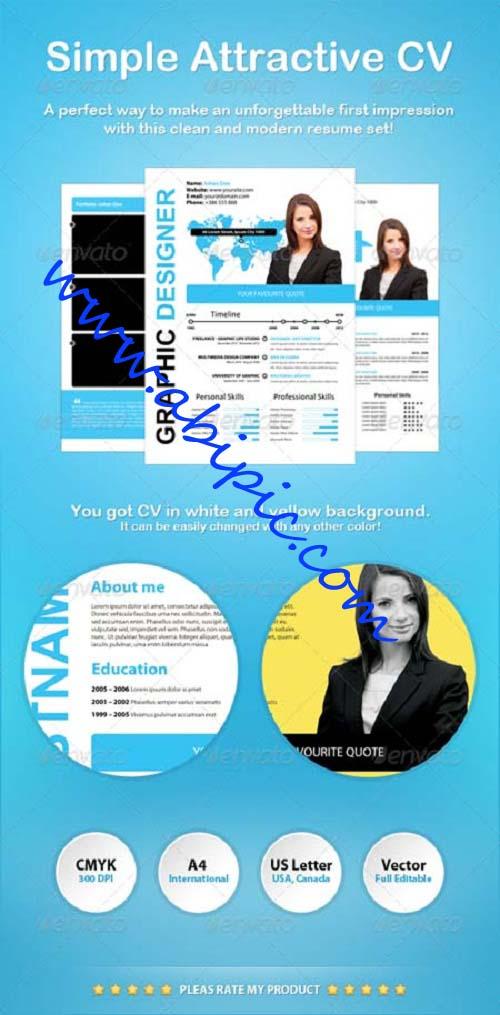 دانلود طرح لایه باز قالب رزومه Simple Attractive CV Template