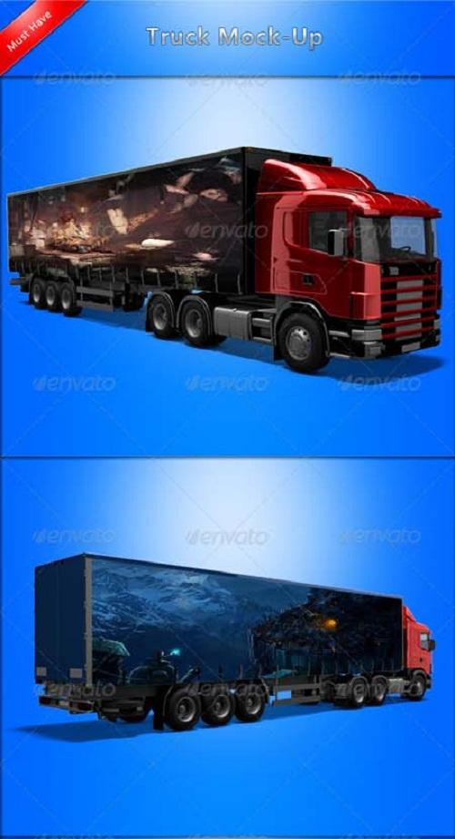 دانلود طرح لایه باز PSD کامیون مخصوص درج تبلیغات روی آن ها