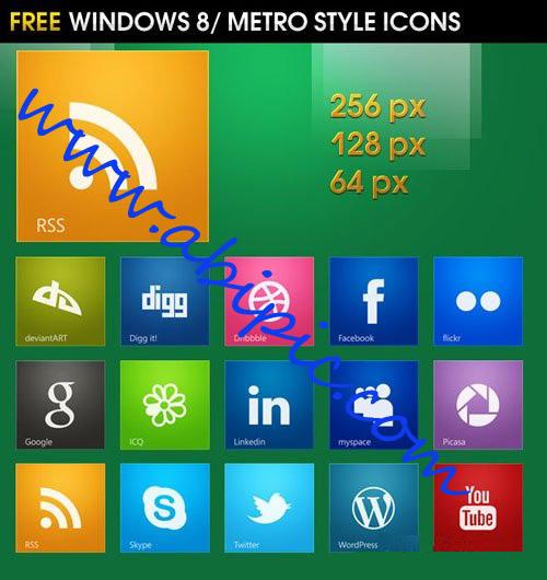 دانلود آیکون های شبکه های اجتماعی با طرح ویندوز 8