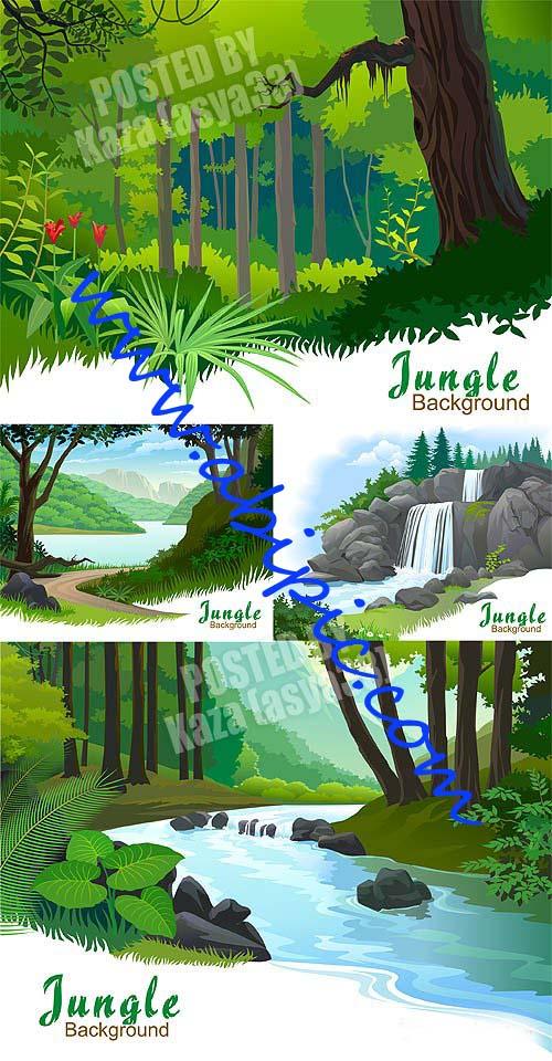 دانلود وکتور بکگراند جنگل Jungle Vector Background