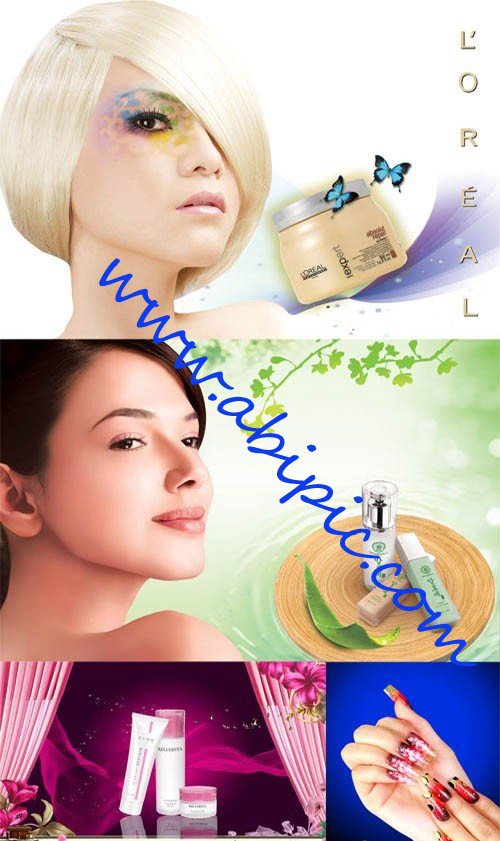 دانلود طرح لایه باز تبلیغات لوازم آرایشی Manicure and beauty products PSD