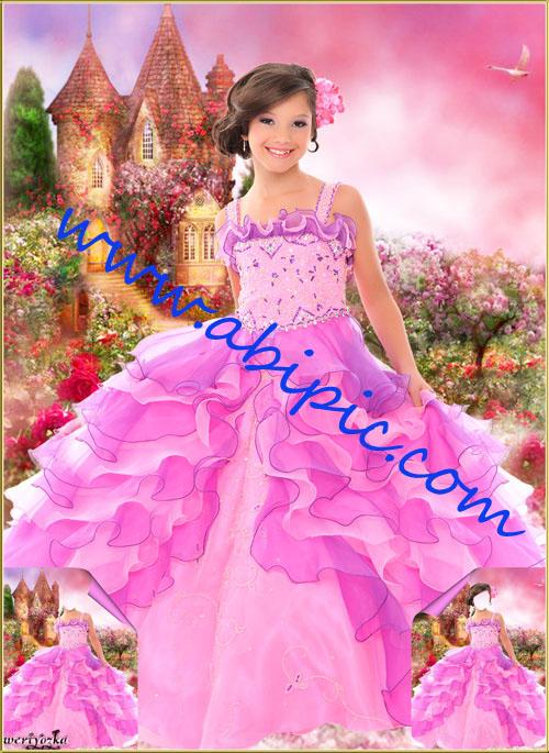 دانلود قالب عکس پرتره لایه باز PSD دخترانه در یک باغ گل رز