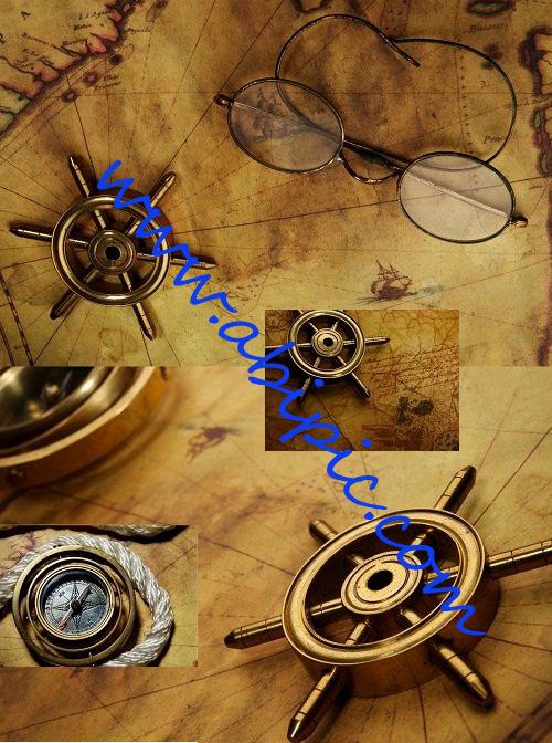 دانلود تصاویر استوک نقشه و قطب نماهای قدیمی Olds Maps & Compass