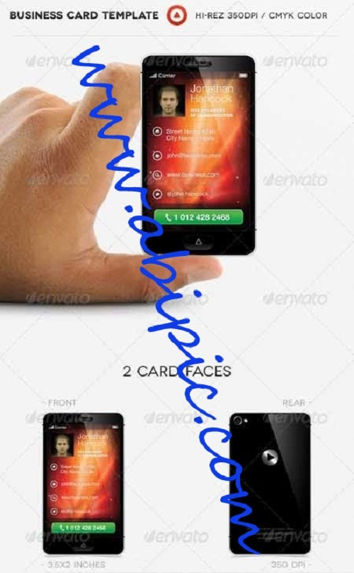 دانلود کارت ویزیت با طرح شبیه اسمارت فون ها Phone Business Card Photoshop