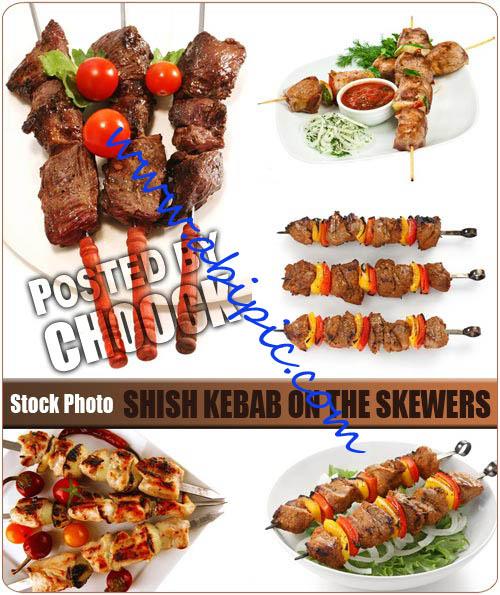 دانلود تصویر استوک کباب Shish kebab on the skewers Stock Photo