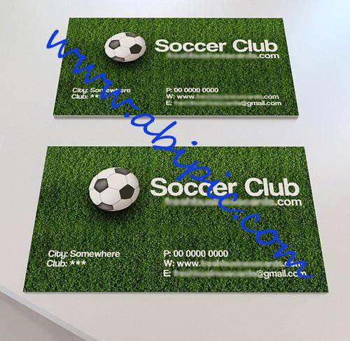 دانلود کارت ویزیت لایه باز برای باشگاه های فوتبال Soccer Business Card for Photoshop