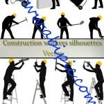 دانلود تصاویر وکتور سیاه و سفید کارگران ساختمانی