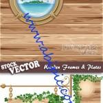 دانلود وکتور کادر و فریم های زیبای چوبی