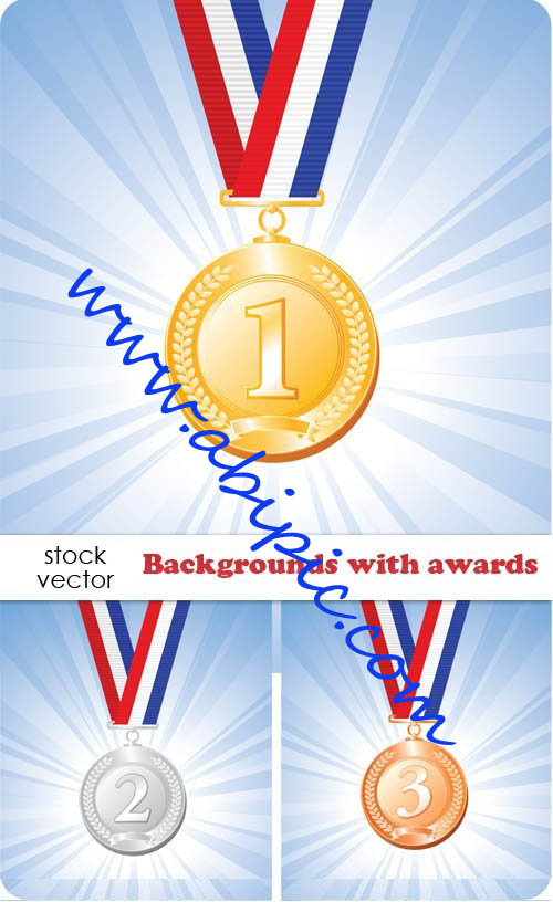 دانلود وکتور بکگراند با طرح مدال های قهرمانی Vectors - Backgrounds with awards