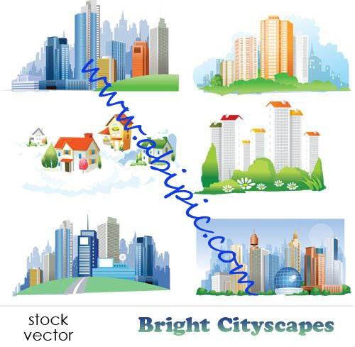 دانلود طرح وکتور دورنمایی از شهر Vectors Bright Cityscapes