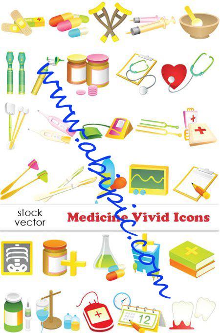 دانلود طرح وکتور آیکون های پزشکی و دارویی  Vectors Medicine Icons