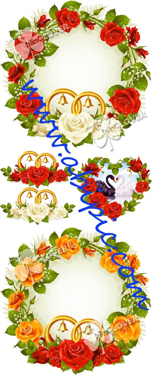 دانلود مجموعه از وکتور فریم و حلقه های گل عروسی Wedding flower frames