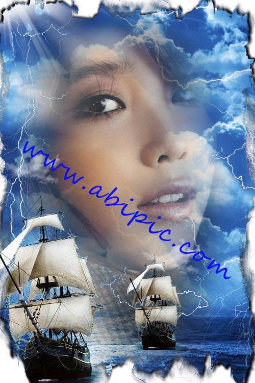 دانلود فون عکس زیبا با طرح دریای طوفانی و کشتی بادبانی