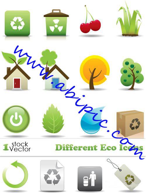 دانلود وکتور آیکون های اکو Different Eco Icons Vector