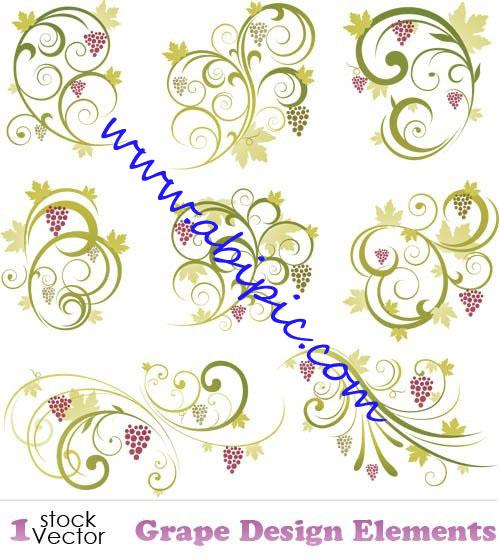 دانلود وکتور گل و بوته با طرح درخت انگو Grape Design Elements Vector
