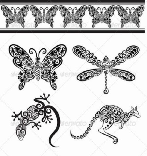 دانلود کادر و طرح وکتور حیوانات با طراحی گل و مارپیچ Animal ornaments Vector