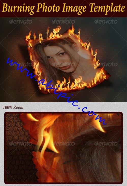 دانلود PSD ساخت فریم عکس سوزان Burning Photo Image Template
