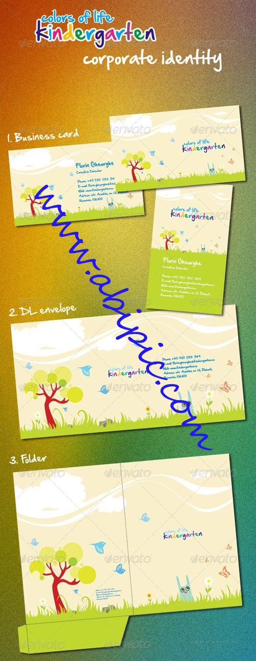 دانلود ست کامل گرافیکی کودکستان Kindergarten Corporate Identity