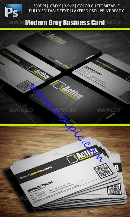 دانلود طرح لایه باز کارت ویزیت خاکستری Modern Grey Business Card