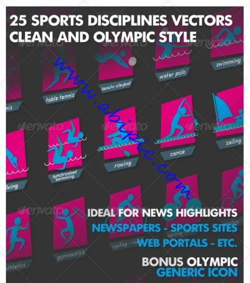 دانلود وکتور آیکون ورزش ها مختلف المپیک Olympia Sport Vector Icons