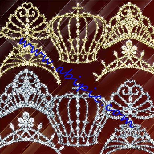 دانلود طرح لایه باز PSD تاج عروس و ملکه Gold and silver tiaras