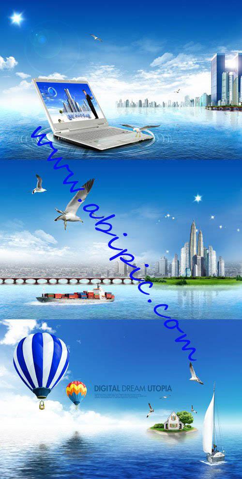 دانلود 3 فایل سورس فتوشاپ با نام آسمان آبی و دریا