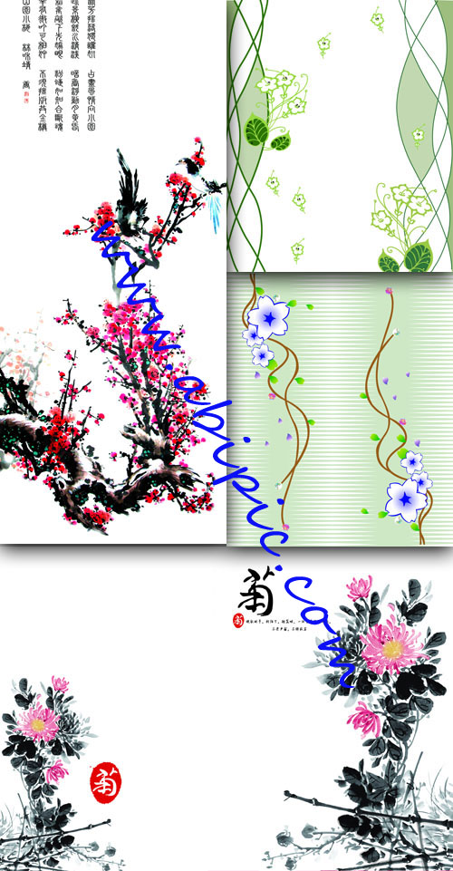 دانلود بکگراند های لایه باز با طرح گل های تابستانی Summer floral backgrounds