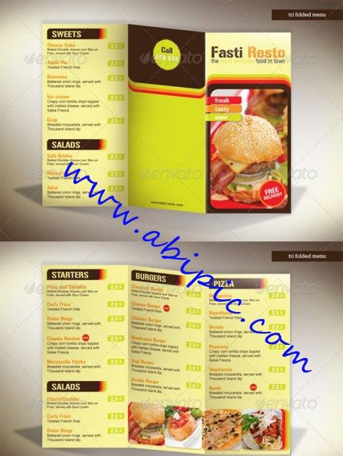 دانلود طرح وکتور منو 3 لت رستوران و کافه Tri-fold Menu Fasti-Resto