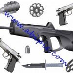 دانلود طرح وکتور انواع اسلحه و مهمات Vectors – Different Ammo
