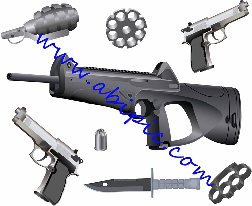 دانلود طرح وکتور انواع اسلحه و مهمات Vectors - Different Ammo