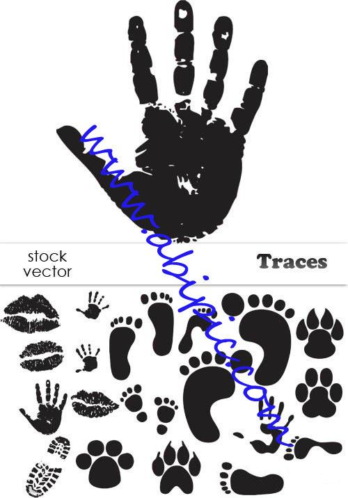 دانلود وکتور اثر کف پا ودست و کفش Vectors Traces