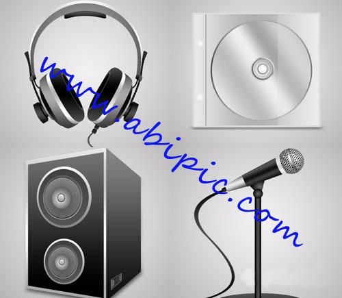 دانلود طرح لایه باز میکروفون، هدفون، CD و اسپیکر