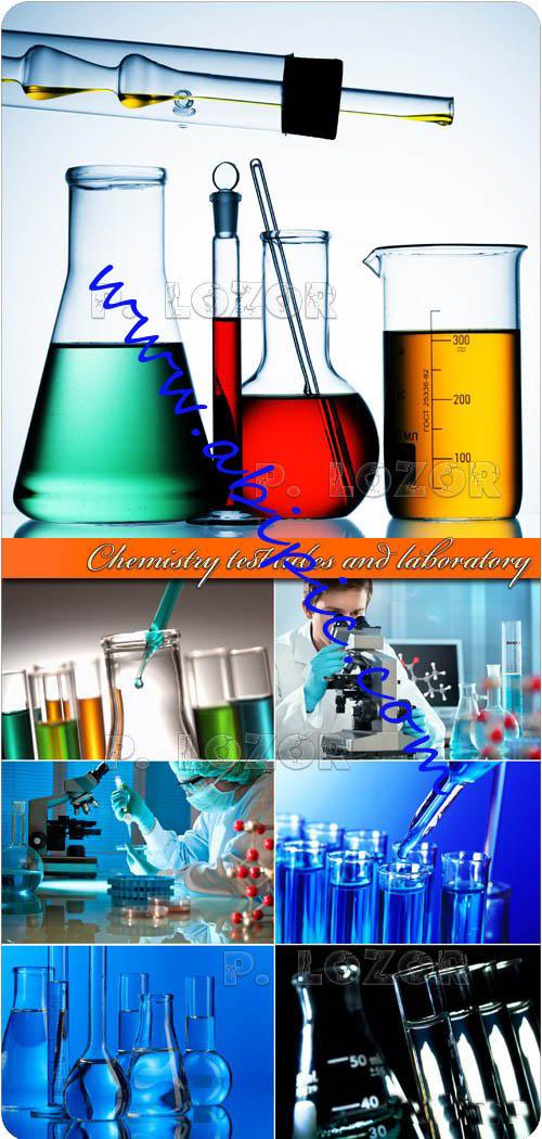 دانلود تصاویر استوک لوازم آزمایشگاه Chemistry test tubes and laboratory photo