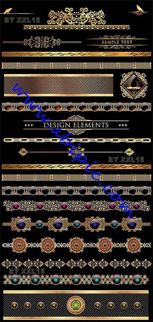 دانلود طح وکتور کادر و حاشیه های طلایی طراحی شماره 3