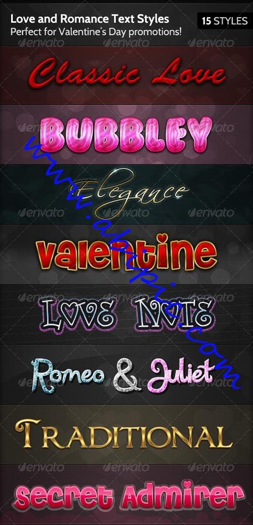 دانلود استایل های عاشقانه و رمانتیک فتوشاپ Love and Romance Text Styles