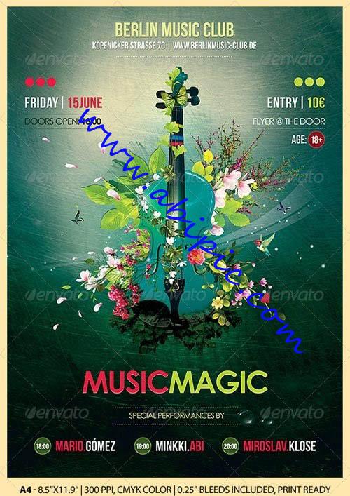 دانلود طرح لایه باز پوستر کنسرت و کلاس های موسیقی Music Magic Poster