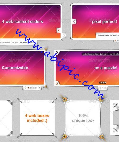 دانلود اسلایدر ها و باکس های لایه باز برای طراحی سایت