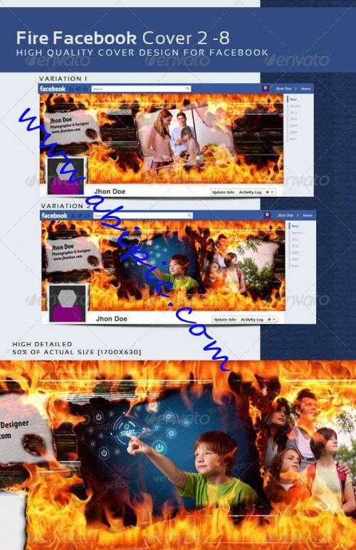 دانلود کاور های لایه باز تایم لاین فیس بوک شماره 4 Fire Facebook Timeline