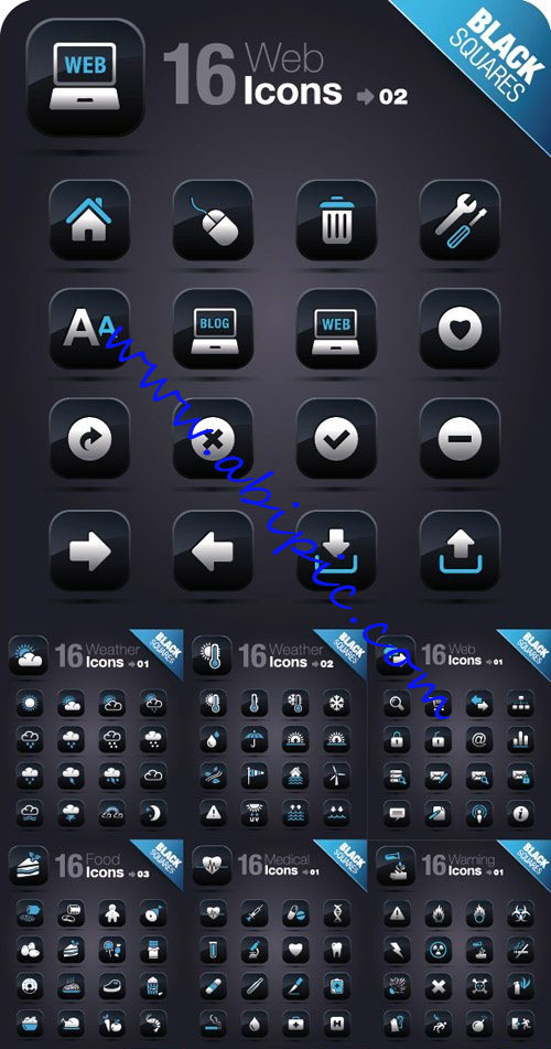 دانلود پک آیکون های مختلف تیره رنگ Icons On A Black Square