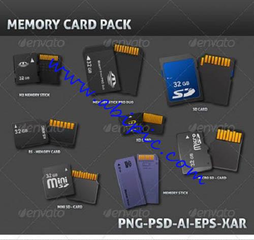 دانلود 8 طرح وکتور با کیفیت بالا از کارت حافظه Realistic Memory Card 3D Vector