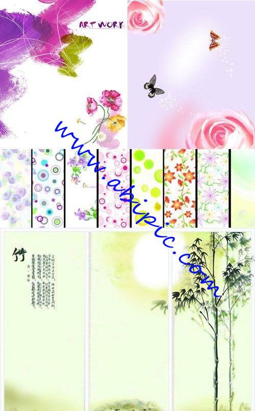 دانلود بکگراند های لایه باز با طرح گل های تابستانی Summer floral backgrounds شماره 2