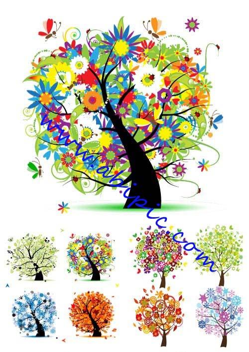 دانلود طرح وکتور درخت در چهار فصل Trees four seasons